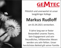 Trauer um unseren Kollegen Markus Rudloff